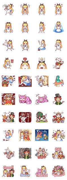 Sticker of Alice in Wonderland.Please enjoy the wonder of the day-to-day Alice! Kawaii Stickers, Cute Stickers, Decoration Stickers, Little Doodles, Cute Chibi, Line Sticker, Kawaii Cute, Tim Burton, Cute Illustration