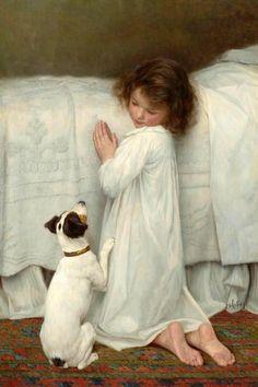 Jack Russell Terrier Prayers / Forgive Us Our Trespasses, 1927 - William Henry Gore Vintage Illustration, Illustration Photo, Illustrations, Jack Russell Terrier, Dog Art, Oeuvre D'art, Vintage Children, Vintage Art, Amazing Art