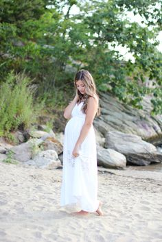 This white lace maxi dress is perfect for a maternity shoot!