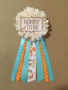 Woodland Animals teal orange Baby Shower Mommy-to-be by afalasca