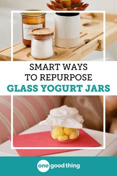 French-style yogurt is everywhere lately, and I'm obsessed with those cute jars they come in! Learn 13 useful ways to reuse those glass yogurt jars at home. Crafts With Glass Jars, Small Glass Jars, Apothecary Jars, Mason Jars, Diy Crafts To Sell, Fun Crafts, Paper Crafts, Oui Oui, Jar Gifts