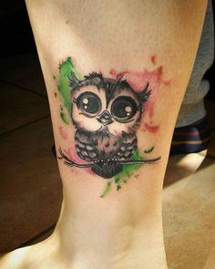Watercolor Girly Temporary Tattoo Of Owl For Leg