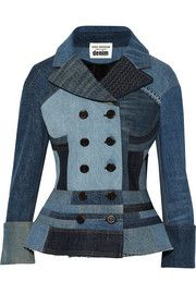 Patchwork denim peplum jacket