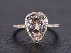 8x12mm Pear Cut Pink Morganite Ring 14K Yellow Gold Morganite Engagement Ring…