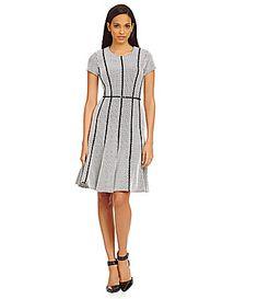 Calvin Klein Textured Ponte FitandFlare Dress #Dillards