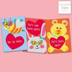 9 Valentines Day Post Cards // Colorful by CynthiaKatzDesign #postcards #cynthiakatzdesign #ValentinesDay