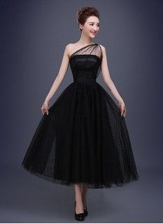 Black Ankle Length Formal Dresses