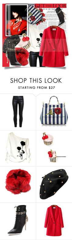 """""""#CoolCoat #GetTheLook #RedCoat"""" by prigaut ❤ liked on Polyvore featuring Balenciaga, Dolce&Gabbana, Kate Spade, Diesel and Rachel Roy"""