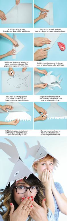 With just six materials, and #sharkweek right around the corner, literally nothing is better than this super simple shark hat DIY! #craft #make #sharknado