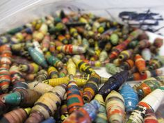 750 Multi-colored Hand Rolled Paper Beads by NyakaGrandmotherShop