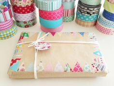 Idea de paquete de regalo y tarjetas con retales de washi tape