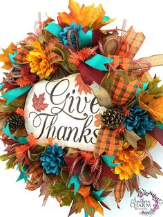 Deco Mesh Give Thanks Fall Wreath Orange by SouthernCharmWreaths