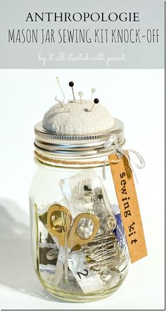 Keep loose-button and dropped-hem essentials inside the jar for easy access in a pinch, and add a bit of fluff to the lid so you always have a place for pins. Get the tutorial at It All Started With Paint »  - GoodHousekeeping.com