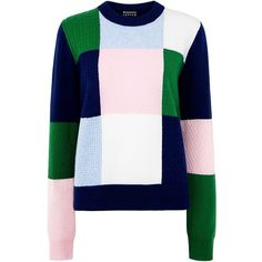 Markus Lupfer - Colour block mixed stitch grace sweater ($410) ❤ liked on Polyvore featuring tops, sweaters, jumper, markus lupfer sweater, colorblock sweater, colorblock top, blue top and block tops
