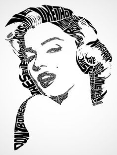 """(Typographic Portrait/Visual Poem/Calligramme): """"Marilyn Monroe"""" (with the titles of her films) Typography Portrait, Typography Drawing, Typography Images, Typography Prints, Typography Alphabet, Creative Typography, Vintage Typography, Typography Quotes, Lettering"""