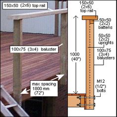 How to build a Deck with Handrail and Steps Balustrade Design, Hardwood Decking, Penrith, Building A Deck, Batten, Home Reno, Decks, Yard, Construction