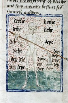 Richard Rolle - Death, a skeleton with bell and spear -  English manuscript 15th century ( third quarter).