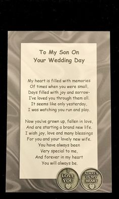 My-Our Son on Your Wedding Day Poem & Pocket Token Gift Set, Parents of the Groom, Wedding Day, Gift Wedding Day Quotes, On Your Wedding Day, Wedding Tips, Wedding Speeches, Wedding Planning, Wedding Card Verses, Wedding Sayings, Wedding Stuff, Wedding Ceremonies