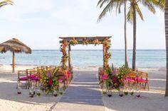 Tropical beach wedding here at Secrets Akumal Riviera Maya! #DestinationWedding #TropicalWedding #BeachWedding #SecretsAkumalRivieraMaya
