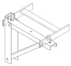 """11746-724 - Chatsworth Triangular Support Bracket 24 by Chatsworth Products Inc.. $53.28. Triangular Support Bracket; Black; 24"""" Triangular bracket provides wall support for cable runway. Made of cold rolled steel. Weight capacity is 400 lb. Kit consists of: 1 vertical wall mounting bracket 1 runway support channel 1 angle support channel 3 e"""