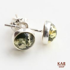 GREEN NATURAL BALTIC AMBER STERLING SILVER 925 JEWELLERY EARRINGS STUD, KAB-3