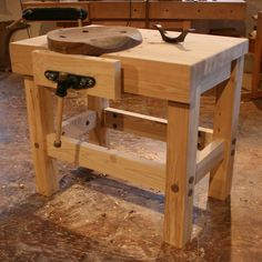 Donna Barrow Lemon saved to Work Fischer Handcrafts Easy Woodworking Bench Designs For Basement Spaces Woodworking Bench Plans, Woodworking Workshop, Fine Woodworking, Woodworking Crafts, Wood Plans, Small Workbench, Folding Workbench, Garage Workbench, Craftsman Furniture