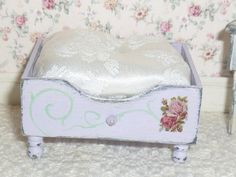 Shabby Chic Country Dog/Pet Bed for Dollhouse by MinisbyJan.  Etsy.