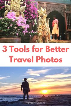 3 Tools for Better Travel Photos. Travel equals Self Care plus Selfies! How to get better selfies. Planning to travel solo, as a couple or family, or taking a girlfriend's getaway, here are some travel tips and ideas to help you get the best pictures on Instagram at your bucket list holiday destinations. No photography skills needed! http://vaycarious.com/2016/12/03/how-do-solo-travelers-get-such-good-pictures/