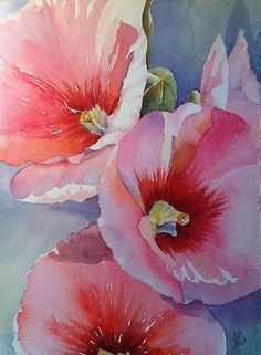 """Mountain Hibiscus"" Watercolor by Mary Owen, 15 x 22, Fabriano 300 lb Cold Pressed"