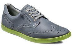 He's got style! ECCO Collin Wingtip Tie in Grey-green. #thewalkingcompany