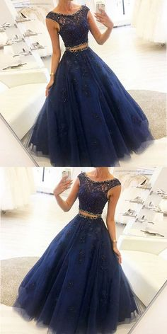 Charming dark blue two pieces long prom dress, sexy evening dress formal dress · Handmade Dress · Online Store Powered by Storenvy Sexy Evening Dress, Cheap Evening Dresses, Cheap Prom Dresses, Quinceanera Dresses, Prom Gowns, Prom Dresses Two Piece, Prom Dresses Blue, Formal Dresses, Dress Long