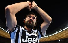 Andrea Pirlo of Juventus applauds the fans after the UEFA Champions League Final between Juventus and FC Barcelona at Olympiastadion on June 6, 2015 in Berlin, Germany