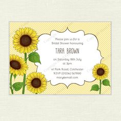 Sunflowers floral Invitation for Bridal Showers, Birthday Parties, Baby Showers or Weddings, customised printable invite - hfcSupplies Etsy