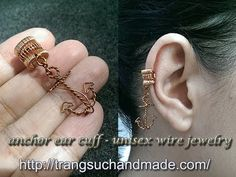 anchor ear cuff - unisex wire jewelry - full version ( slow ) 283