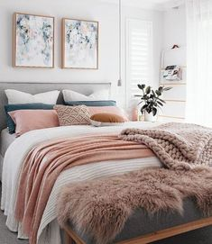 bedroom with blush pink