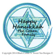 Personalized Hanukkah Sticker Star of David Personalized by Black Coffee N' Sweet Tea Designs $5.95 per sheet with choice of sizes. Use PIN10 Coupon Code for 10% any purchase!