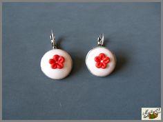 boucles d'oreilles fleurs rouges en pâte polymère polymer clay earrings  http://ellefimote.canalblog.com/