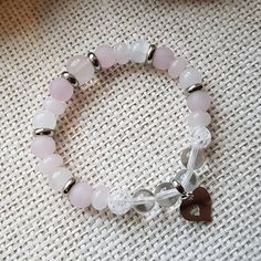 Náramek růženín, jadeit, křišťál se srdcem Beaded Bracelets, Jewelry, Fashion, Moda, Jewlery, Jewerly, Fashion Styles, Pearl Bracelets, Schmuck