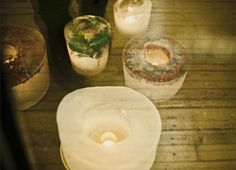 Walkway Ice Decorations To DIY For A Winter Wedding    #Winter #Wedding #Idea  what a cool idea. I would just line my porch with these and put in flameless candles. Ice! Allison-you could put these outside the front doors in big urns?