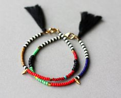 Gold Spike Bracelet - Tribal Bracelet - Layering Bracelet - Friendship Bracelet with Tassel