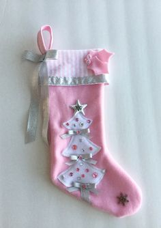 girls christmas stocking bright pink and green by matchymishka pink and green christmas pinterest bright pink stockings and bright - Girls Christmas Stocking