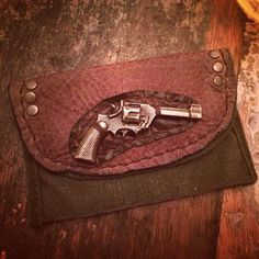 Brass Pistol on Upcycled WWII GI Pouch with by LuckyGirlEleven