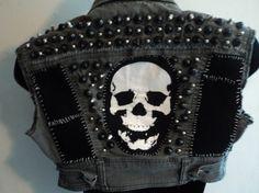 Studded grey punk vest skull back patch