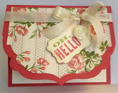 Oh Hello card with decorative edge (Framelits). Creative Juice by Loni.