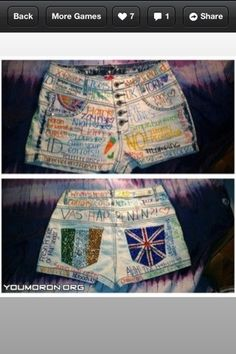 one direction shorts!!! im gonna try to make these for the one direction concert im going to!!!! :)))))