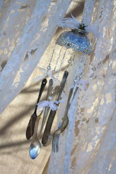 Silverware wind chime.
