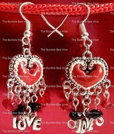 Polymer clay heart applique earrings