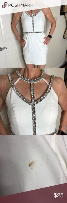 💎White Rhinestone Dress There are 2 stains on the amazing dress that my dry cleaner would touch... still an amazing dress for perhaps the right costume party or a photoshoot. Sold as is... wore for my bachelorette party! Dresses Midi