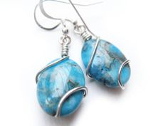 Blue Agate and Silver Earrings - Blue Rapture I