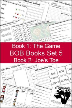 Free BOB Books Set 5 Books 1 & 2 Printables: Include writing, coloring, decoding & matching, answer questions and more.